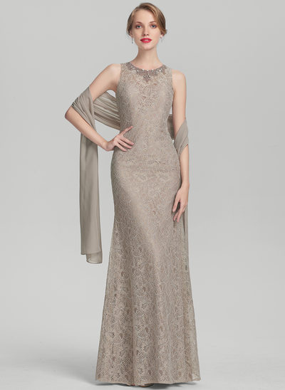 Sheath/Column Scoop Neck Floor-Length Lace Mother of the Bride Dress With Beading
