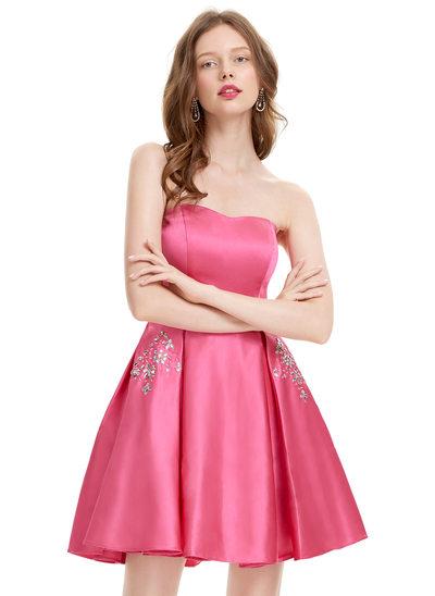 Vestidos princesa/ Formato A Sem Alças Curto/Mini Cetim Vestido de boas vindas com Beading lantejoulas
