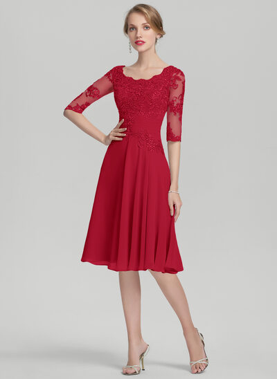 A-Linie/Princess-Linie U-Ausschnitt Knielang Chiffon Kleid für die Brautmutter mit Rüschen Applikationen Spitze