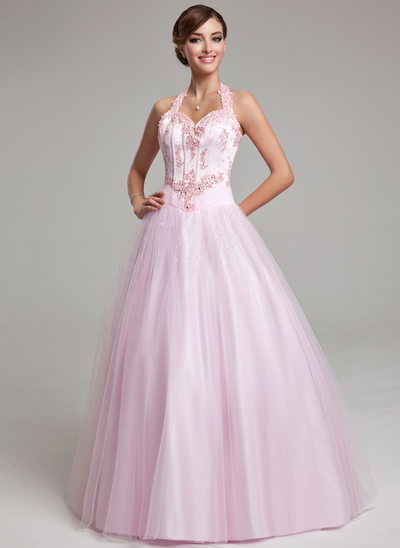 Ball-Gown Halter Floor-Length Tulle Quinceanera Dress With Beading Appliques Lace