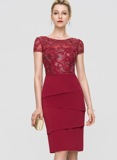 Sheath/Column Scoop Neck Knee-Length Stretch Crepe Cocktail Dress With Beading Sequins