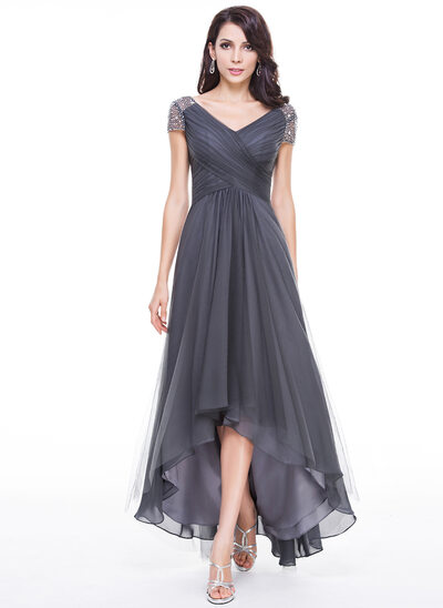A-Line/Princess V-neck Asymmetrical Tulle Mother of the Bride Dress With Ruffle Beading Sequins