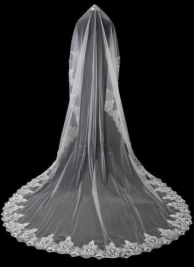 1 couche Bord en dentelle Voiles de mariée cathédrale avec Dentelle