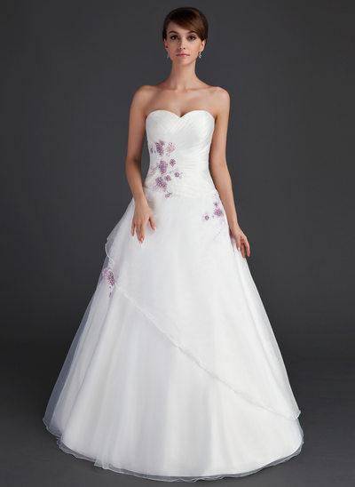 Duchesse-Linie Schatz Bodenlang Organza Quinceañera Kleid (Kleid für die Geburtstagsfeier) mit Rüschen Perlstickerei Applikationen Spitze Pailletten