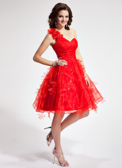 A-Line/Princess One-Shoulder Knee-Length Organza Homecoming Dress With Ruffle Flower(s)