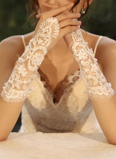 Tul/Encaje Muñeca Largo Guantes de novia con Lentejuelas/La perla de faux