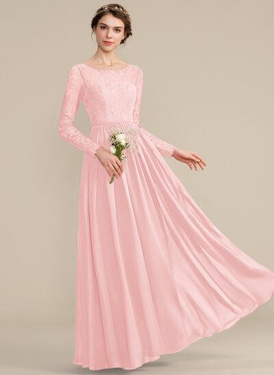 Corte A Decote redondo Longos Tecido de seda Renda Vestido de madrinha