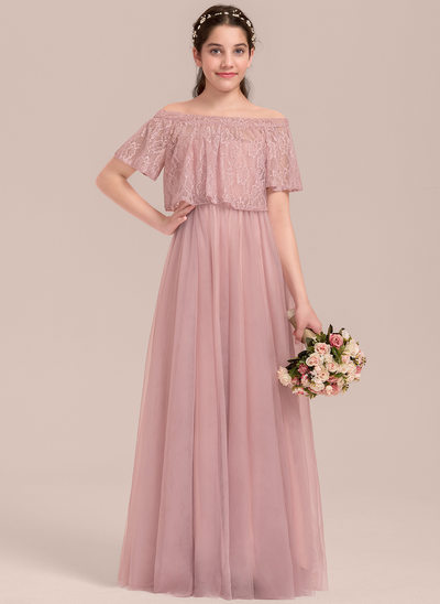 A-Line/Princess Off-the-Shoulder Floor-Length Tulle Junior Bridesmaid Dress With Ruffle