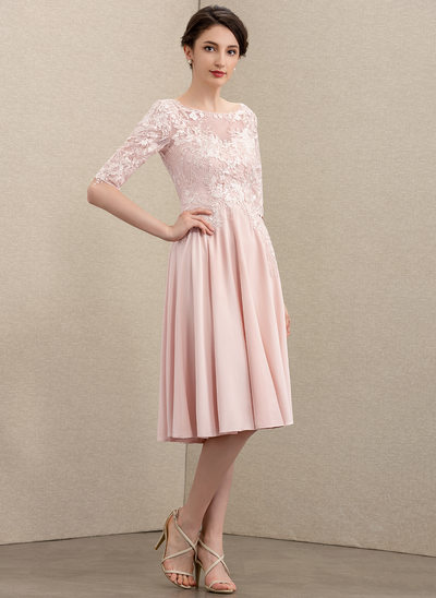 A-Line Scoop Neck Knee-Length Lace Stretch Crepe Cocktail Dress