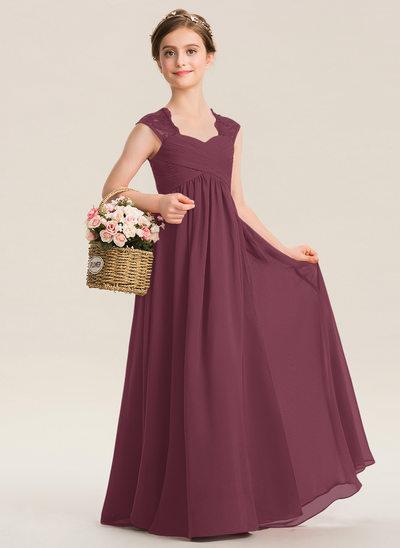 A-Line Sweetheart Floor-Length Chiffon Lace Junior Bridesmaid Dress With Ruffle