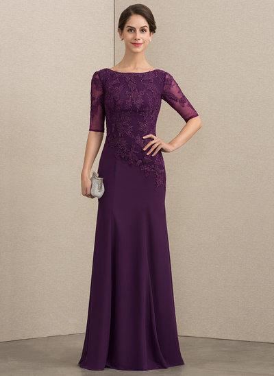 Trompete/Sereia Decote redondo Longos Tecido de seda Renda Vestido para a mãe da noiva