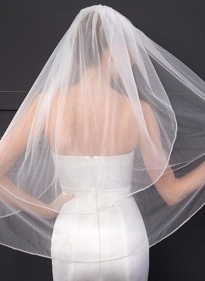 2 couches Bord de coupe Voile de mariée longueur coude avec Strass