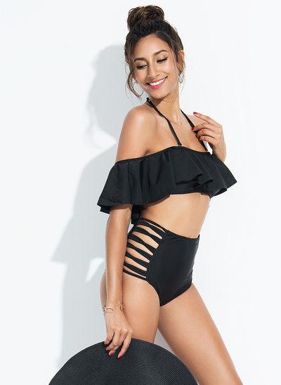 Élégante Couleur unie De chinlon Spandex Bikinis Maillot de bain