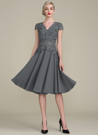 A-Line V-neck Knee-Length Cocktail Dress With Beading