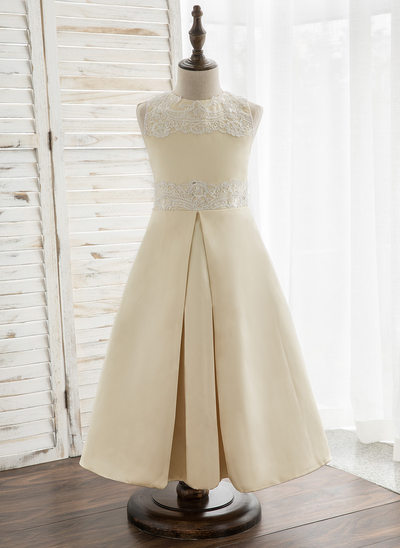A-Line/Princess Tea-length Flower Girl Dress - Satin/Lace Sleeveless Scoop Neck With Beading
