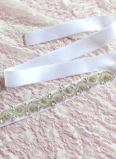 Beautiful Ribbon Sash With Rhinestones/Imitation Pearls