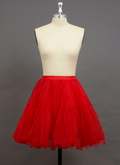 Women Organza/Polyester Short-length 2 Tiers Petticoats