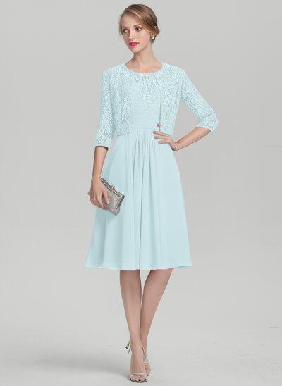 Vestidos princesa/ Formato A Decote redondo Coquetel Tecido de seda Renda Vestido para a mãe da noiva com Pregueado