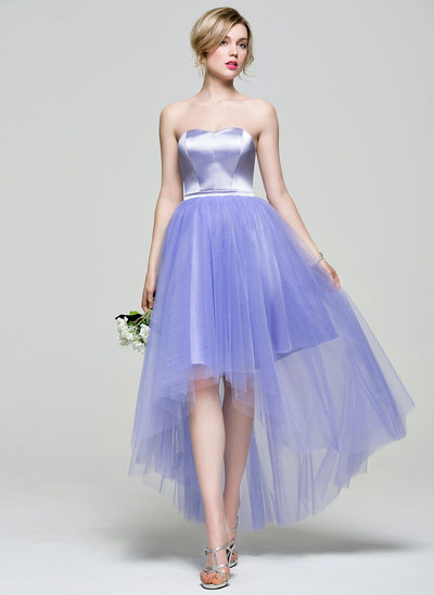 A-Line/Princess Sweetheart Asymmetrical Charmeuse Tulle Bridesmaid Dress