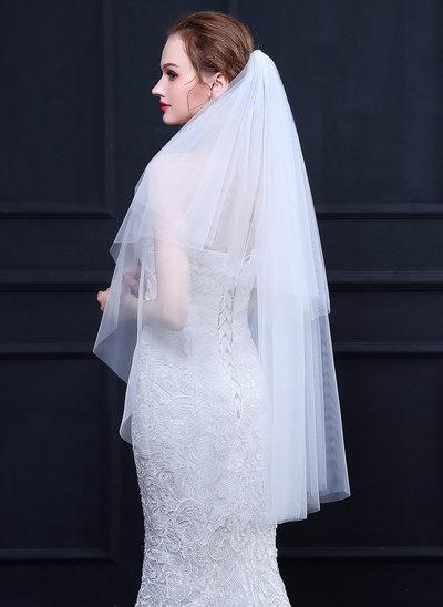 Dos capas Corte de borde Yema del dedo velos de novia