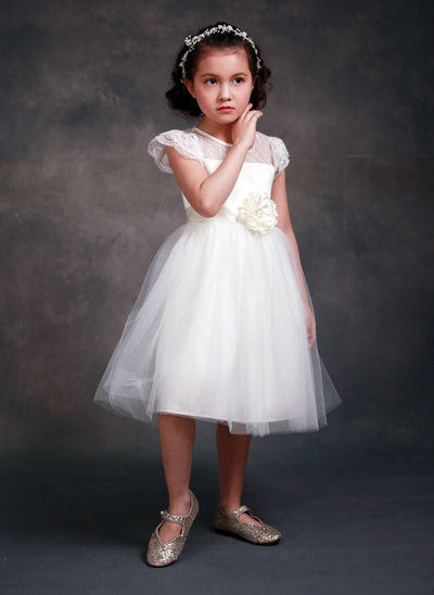 A-Line/Princess Tea-length Flower Girl Dress - Tribute silk/CVC Short Sleeves Scoop Neck With Sash/Beading/Flower(s)
