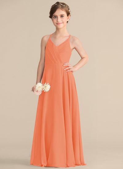 Vestidos princesa/ Formato A Decote V Longos Tecido de seda Vestido de daminha júnior com Babados em cascata