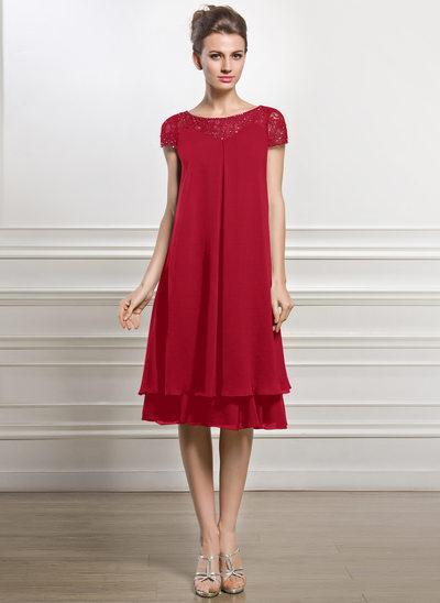 Empire-Linie U-Ausschnitt Knielang Chiffon Kleid für die Brautmutter mit Perlstickerei Pailletten