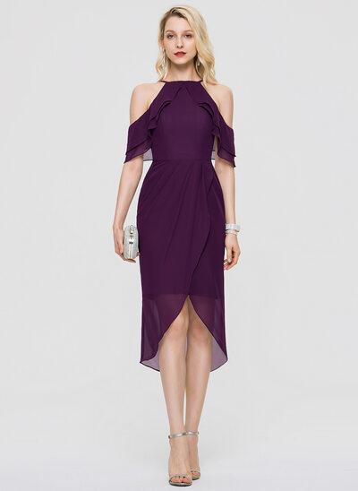 Wąska Kwadratowy Dekolt Asymetryczny Szyfon Sukienki Koktajlowe