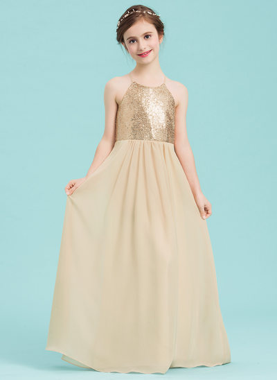 A-Line/Princess Square Neckline Floor-Length Chiffon Junior Bridesmaid Dress