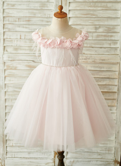 A-Line Knee-length Flower Girl Dress - Satin/Tulle Sleeveless Scoop Neck With Feather/Flower(s)