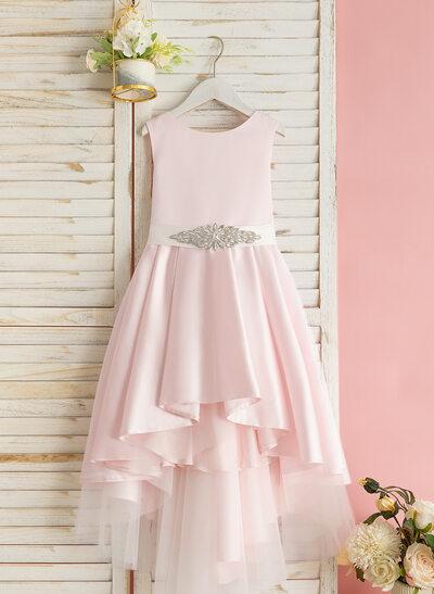 Трапеция асимметричный Нарядные платья для девочек - Атлас Без Рукавов Круглый с развальцовка (Здымная створка)