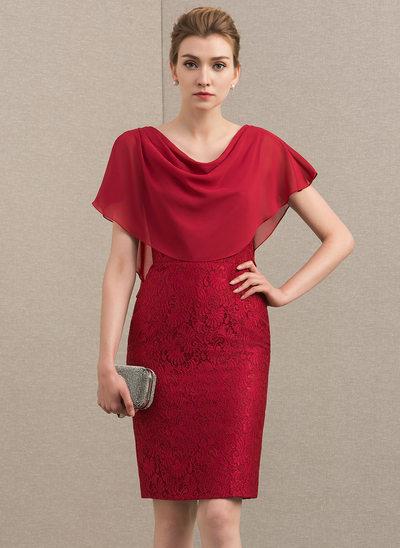 Etui-Linie Wasserfallausschnitt Knielang Chiffon Spitze Kleid für die Brautmutter mit Gestufte Rüschen