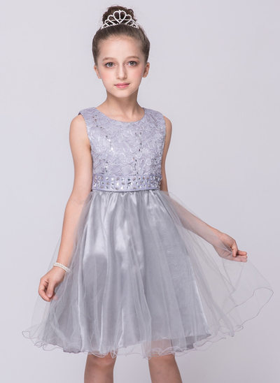 A-Line/Princess Knee-length Flower Girl Dress - Polyester Sleeveless Scoop Neck With Rhinestone