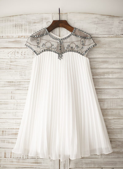 A-Line/Princess Knee-length Flower Girl Dress - Chiffon Sleeveless Scoop Neck With Rhinestone