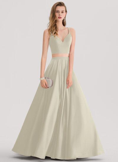 Ball-Gown Sweetheart Floor-Length Satin Prom Dresses