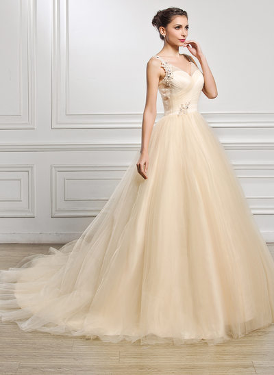 Ball-Gown V-neck Cathedral Train Tulle Wedding Dress With Ruffle Lace Beading Sequins