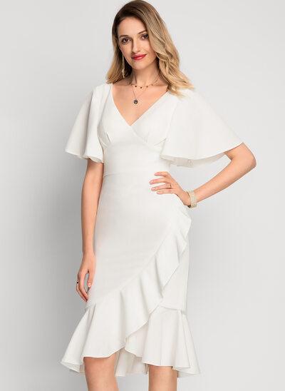 Раструб/Платье-русалка V-образный асимметричный стретч-креп Коктейльные Платье