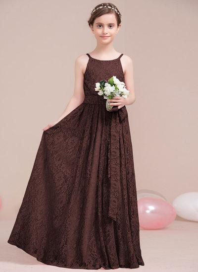 Vestidos princesa/ Formato A Decote redondo Longos Renda Vestido de daminha júnior com Curvado