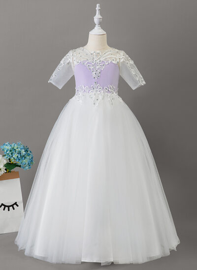 Ball-Gown/Princess Floor-length Flower Girl Dress - Tulle/Lace 1/2 Sleeves Scoop Neck With Beading
