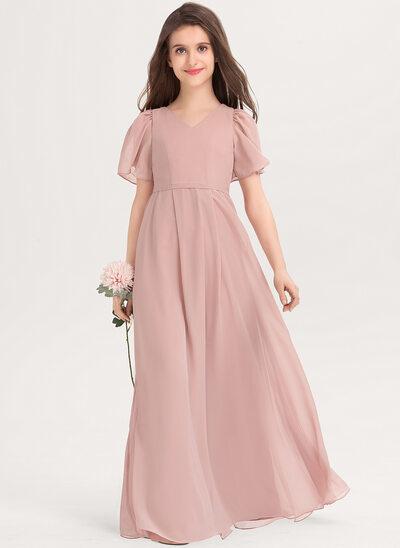 Трапеция V-образный Длина до пола шифон Платье Юнных Подружек Невесты с Бант(ы)