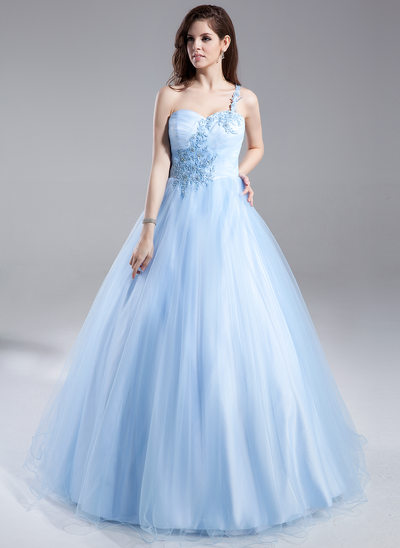 Ball-Gown One-Shoulder Floor-Length Tulle Prom Dress With Ruffle Beading Appliques Lace