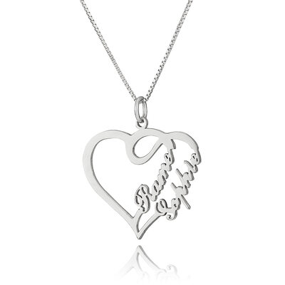 Custom Sterling Silver Overlapping Heart Necklace Nameplate - Birthday Gifts Mother's Day Gifts