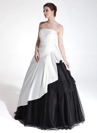 Duchesse-Linie Herzausschnitt Bodenlang Charmeuse Tüll Quinceañera Kleid (Kleid für die Geburtstagsfeier) mit Gestufte Rüschen