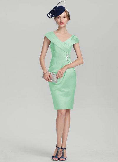 Платье-чехол V-образный Длина до колен Атлас Платье Для Матери Невесты с Рябь развальцовка
