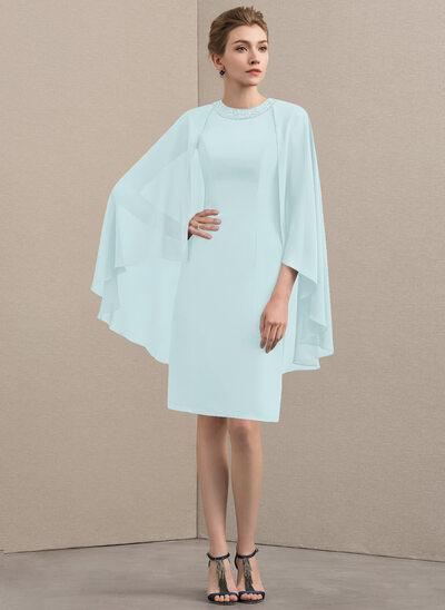 Tubo Decote redondo Coquetel Tecido de seda Vestido para a mãe da noiva com Beading lantejoulas