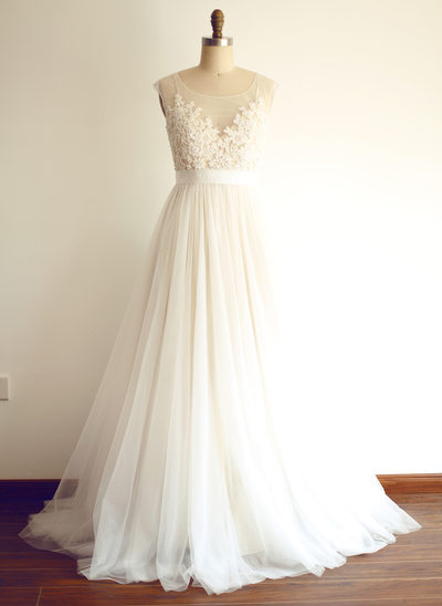 A-Line/Princess Scoop Neck Sweep Train Tulle Wedding Dress With Beading Appliques Lace Sequins