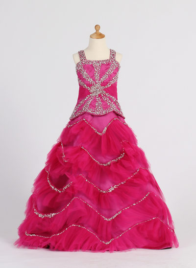 Ball Gown Floor-length Flower Girl Dress - Satin/Tulle Sleeveless Straps With Ruffles/Beading/Sequins