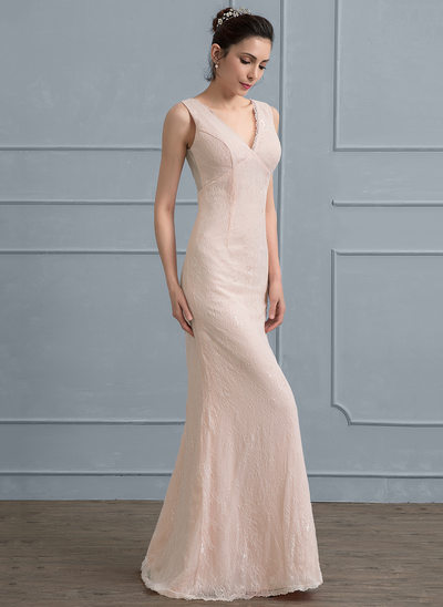 Sheath/Column V-neck Floor-Length Lace Wedding Dress With Bow(s)