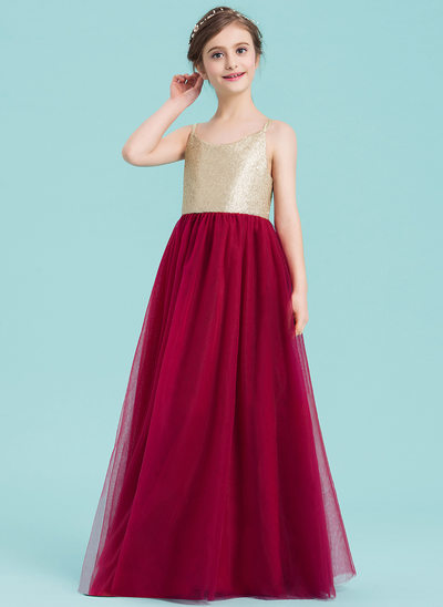 A-Line/Princess V-neck Floor-Length Tulle Junior Bridesmaid Dress