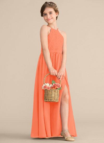 Vestidos princesa/ Formato A Decote redondo Longos Tecido de seda Renda Vestido de daminha júnior com Frente aberta